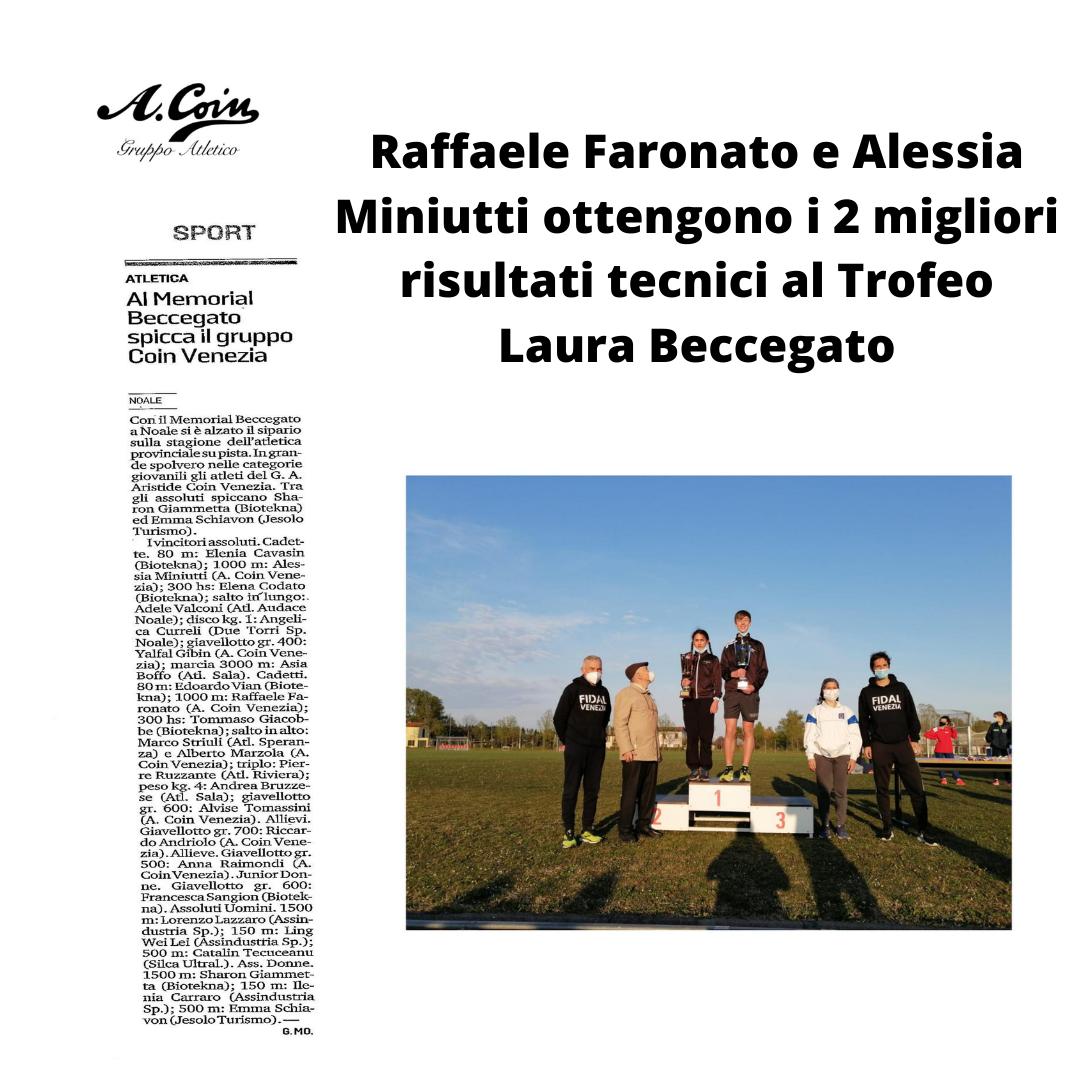 Faronato Raffaele e Miniutti Alessia hanno ottenuto i 2 migliori risultati tecnici al Trofeo Laura Beccegato
